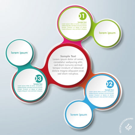 Infographic design with colored and white circles on the grey background. Eps 10 vector file. Vector