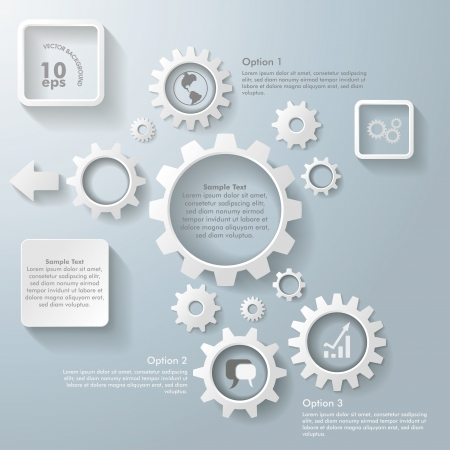 White gears on the grey background. Eps 10 vector file. Vector
