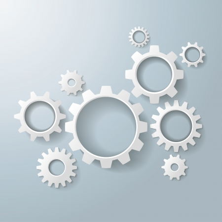 out of production: White gears on the grey background. Eps 10 vector file.