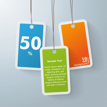 three colored: Three colored shopping marks on the grey background. Eps 10 vector file.