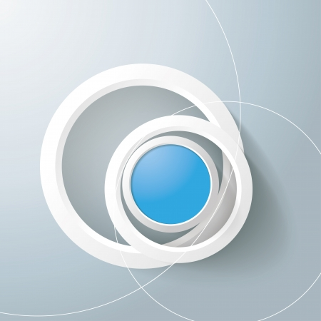 abstract eye: White rings with blue circles on the grey background. Eps 10 vector file.