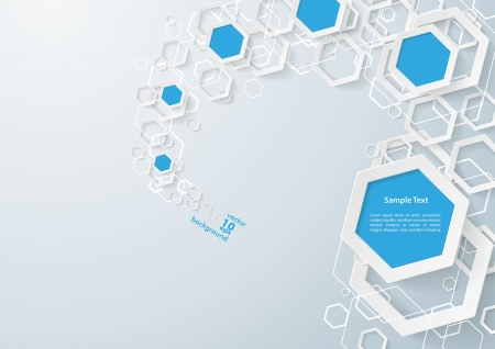 White and blue hexagons dust on the grey background. Eps 10 vector file.