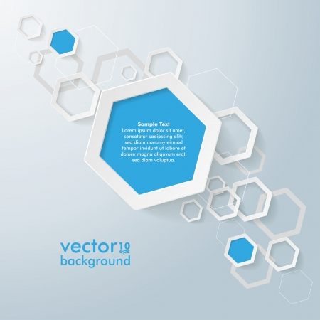Infographic design with blue and white hexagons on the grey background. Eps 10 vector file.