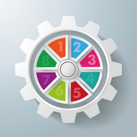 White gear with colorful centre with 8 options on the grey background. Eps 10 vector file. Vector