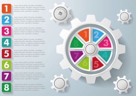 Infographic with gears and rectangles  on the grey background. Eps 10 vector file. Vector