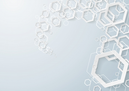 White hexagons dust on the grey background. Eps 10 vector file. Vector