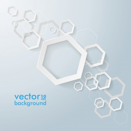 Infographic design with  white hexagons on the grey background. Eps 10 vector file. Vector