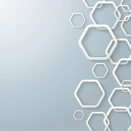 White hexagon rings with shadows on the grey background. Eps 10 vector file.