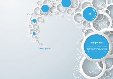 White rings with blue circles on the grey background. Eps 10 vector file. Vector