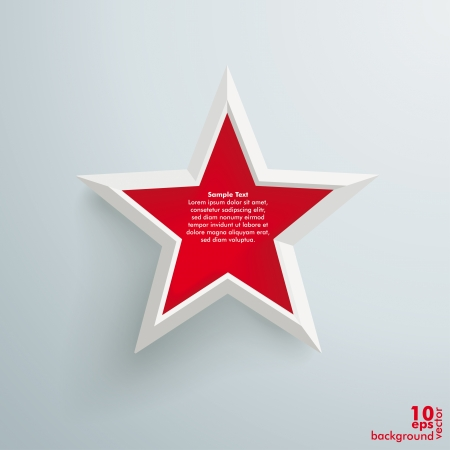 Big red star on the grey background Vector