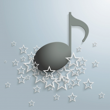 music sheet: Black music note and white stars on the grey background. Illustration