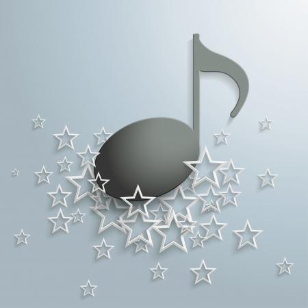 pentagramma musicale: Nota musicale nero e stelle bianche su sfondo grigio.