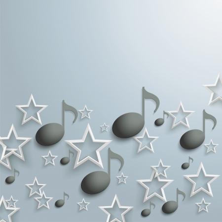 pentagramma musicale: Stelle bianche e note musicali nere su sfondo grigio Vettoriali