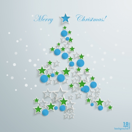snoflake: Christmas tree with white stars and blue baubles on the grey background