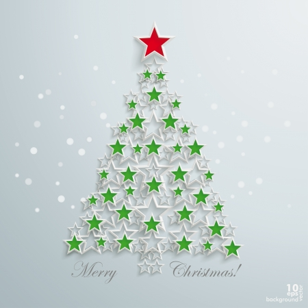 snoflake: Christmas tree with white stars on the grey background