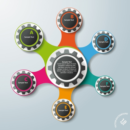 connected idea: Infographic design with colored and white gears on the grey background.