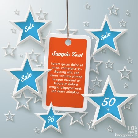 Stars with shopping mark on the grey background. Vector