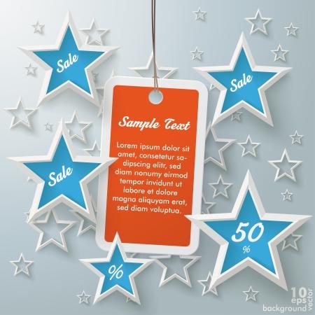 christmas template: Stelle con marchio shopping su sfondo grigio.