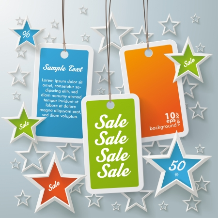 colorful sticker: Stars with shopping mark on the grey background Illustration