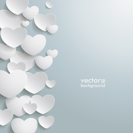 White hearts on the grey background   Vector