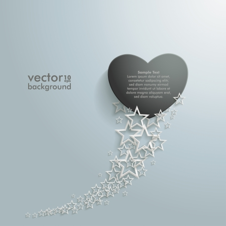White stars with black heart on the grey background   Vector
