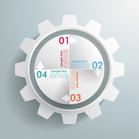 iterative: White gear with cycle on the grey background Illustration