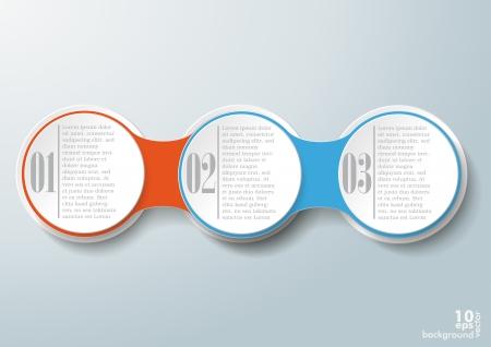 three object: Infographic design with colored and white circles on the grey background Illustration