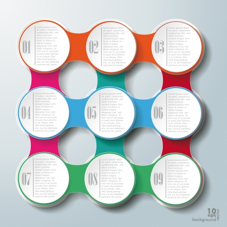 iterative: Infographic design with colored and white circles on the grey background Illustration