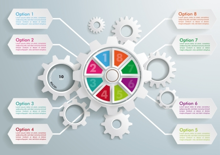 Infographic with gears on the grey background. Vector