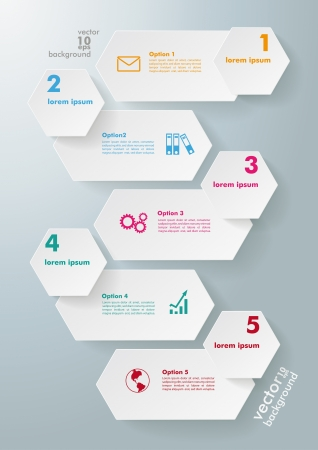 comb out: Infographic design with hexagons on the grey background