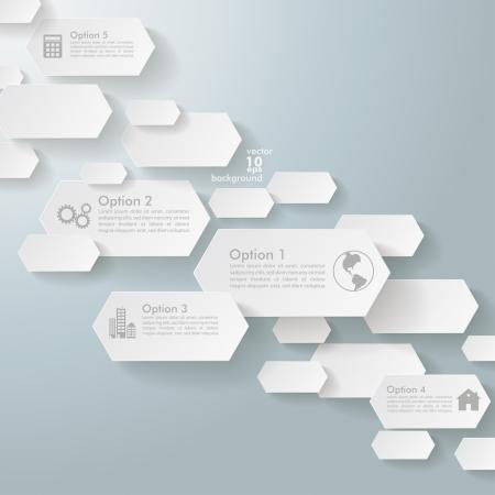 five objects: Progettazione infografica con esagoni su sfondo grigio