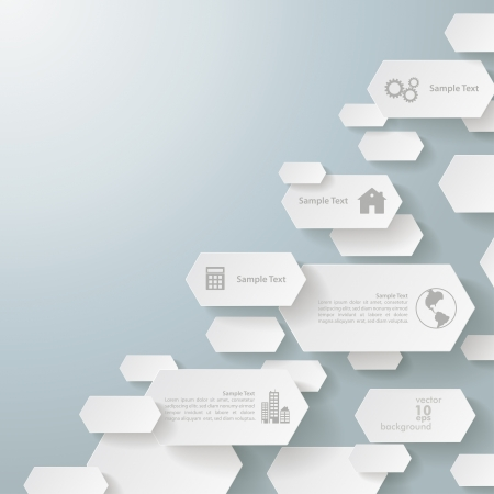 Infographic design with hexagons on the grey background Vector