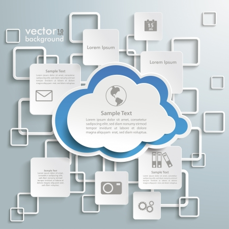 Cloud with rectangles on the grey background. Vector
