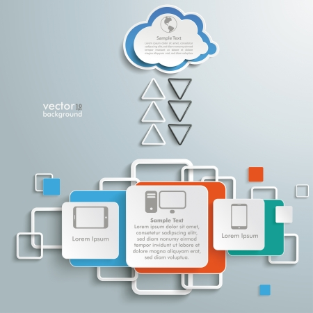 Infographic with cloud computing on the grey background.