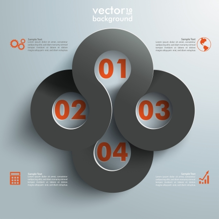 Infographic with connected circles on the grey background.  Vector