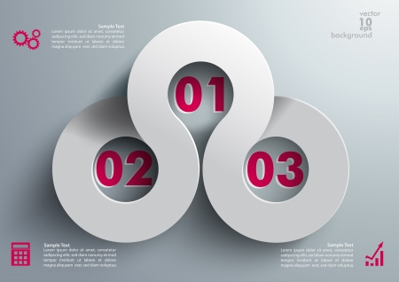 three objects: Infographic with grey backround.