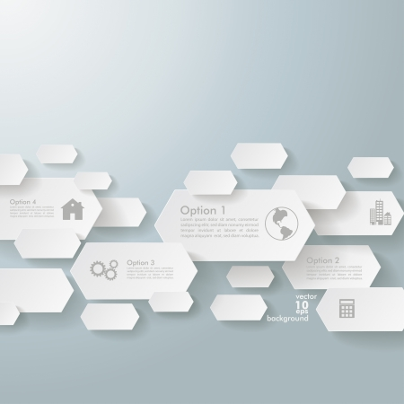 comb out: Infographic design with hexagons on the grey background   Illustration