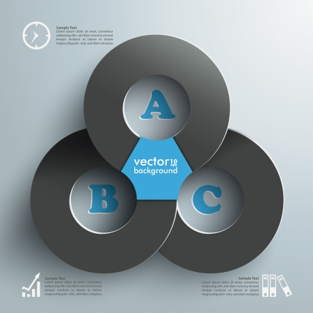 three objects: Infographic with connected circles on the grey background