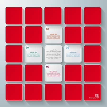 quadrat: Infographic design with white and red rectangle squares on the grey background  Illustration