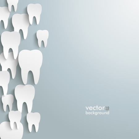 three objects: Infographic with white teeth on the grey background   Illustration