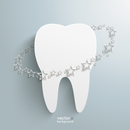 eps 10: Infographic with white tooth on the grey background  Eps 10 vector file