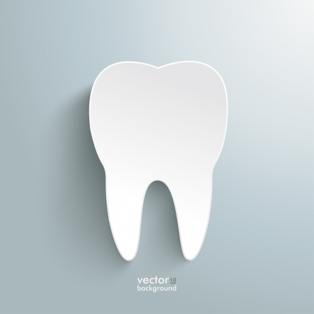Infographic with white tooth on the grey background  Vector