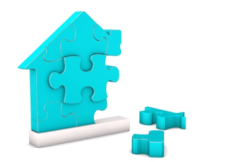 Puzzle pieces of the cyan house on the white background. photo