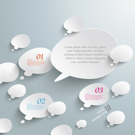 bevel: Infographic with bevel speech bubbles on the grey background.