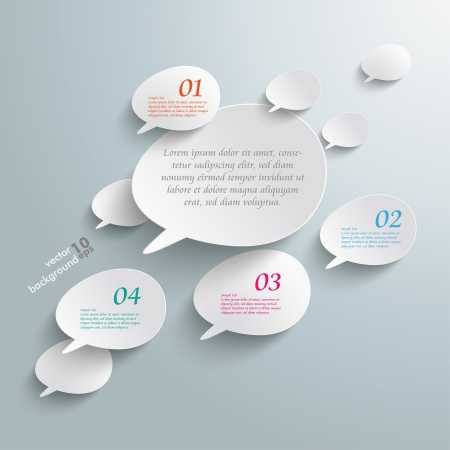 マンガの吹き出し: 灰色の背景上のベベル スピーチ泡とインフォ グラフィック。  イラスト・ベクター素材