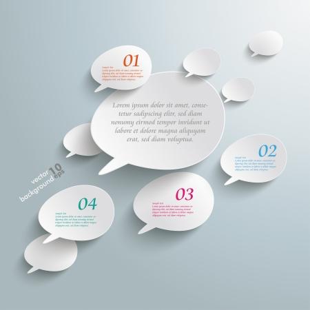 burbujas de pensamiento: Infograf�a con bocadillos bisel en el fondo gris.