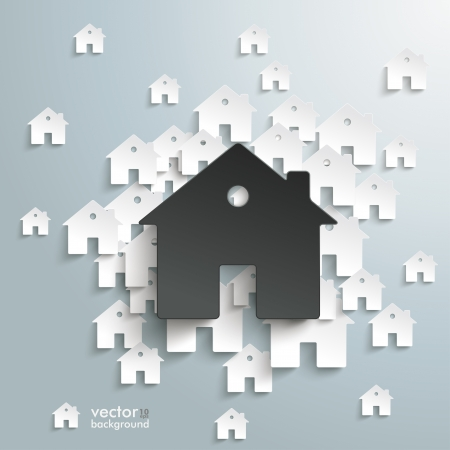 Infographic with white and black houses on the grey background.  Illustration