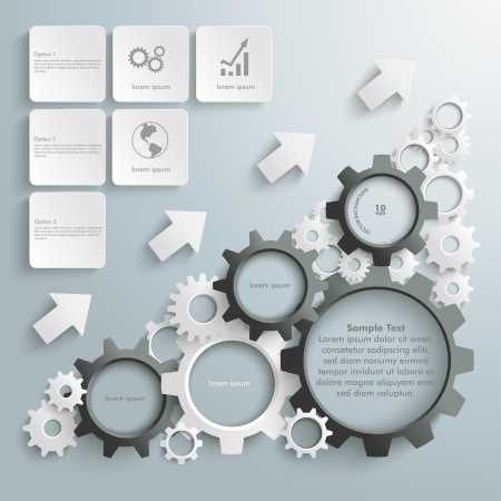 White gears with on the grey background. Vector