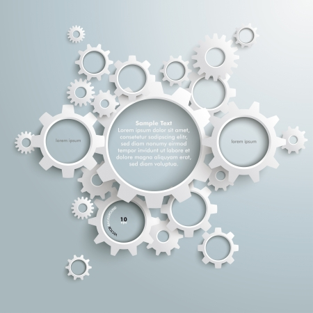 cog: White gears with on the grey background.