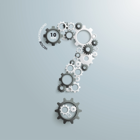 questions answers: White gears as a qustion mark the grey background.  Illustration